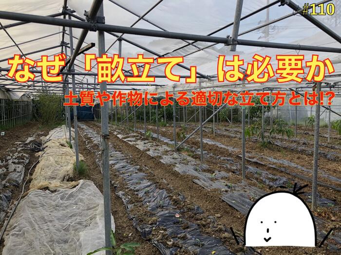 【#110】なぜ畝を立てるのか?作物や土質,狙いによって適切な立て方がある.